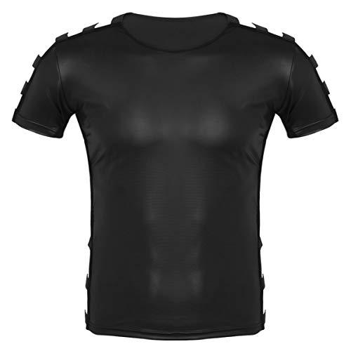 Alvivi Herren Muskel T-Shirt Slim Fit Tops Kurzarm Oberteile Kunstleder Unterhemd mit Elastisch Streifen Männer Schwarz Sport Shirt Fitness Clubwear M-XXL Schwarz XX-Large