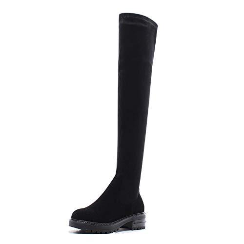 MENGLTX High Heels Sandalen Plattformen Enge Hohe Stiefel Frauen Echtes Leder Dünne Lange Warme Schneeschuhe High Heels Winterschuhe Frau 10 1 - Sandalen-plattformen Stiefel