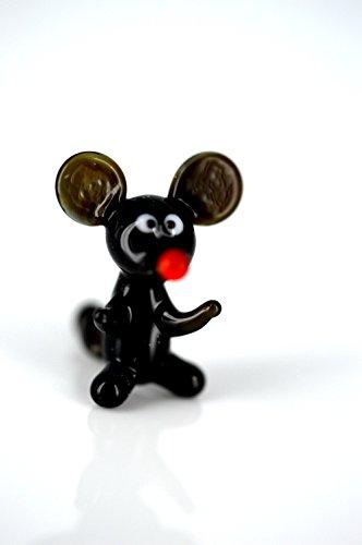 Ratón Mini Negro de vidrio figura de K de 2