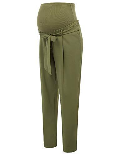 Maacie Donna Incinta Pantaloni Tinta Unita Elegante per Gravidanza Premaman XL Verde Militare