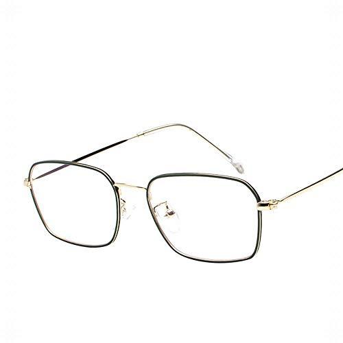 Yiph-Sunglass Sonnenbrillen Mode Retro Metall Flache Gläser Clear Lens Brillengestell für Frauen/Männer/Studenten. (Farbe : Grün)
