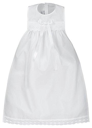 Taufaufleger aus rein weißer Baumwolle mit Spitze und Schleife in weiß, Unisex, festliche Taufbekleidung für Mädchen und Jungen geeignet
