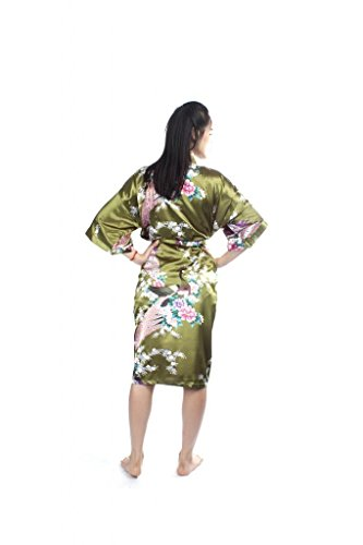 Lofbaz Damen Traditioneller Gedruckter Kimonos Pfau Dunkelgrün