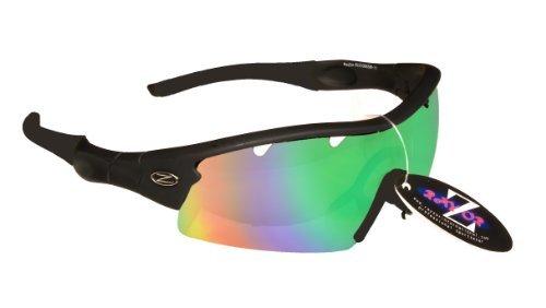 Rayzor professionali leggeri UV400 Nero Sport Wrap ciclismo occhiali da sole, con un 1 pezzo blu / verde Iridium obiettivo rispecchiato.