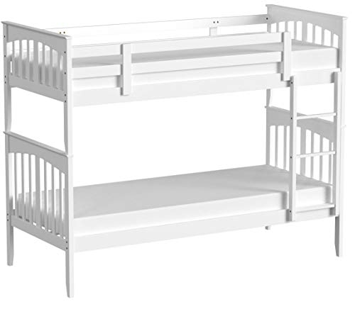 ROYALE COMFORT Palermo Wooden Kids Bunk Bed White Shaker Style Modern Childrens 3FT Single Bed Frame Bedroom Furniture