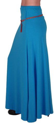 EyeCatch - Romina Aux Femmes Gitan Longue Jersey Dames Belted Maxi Robe Évasée Jupe Turquoise