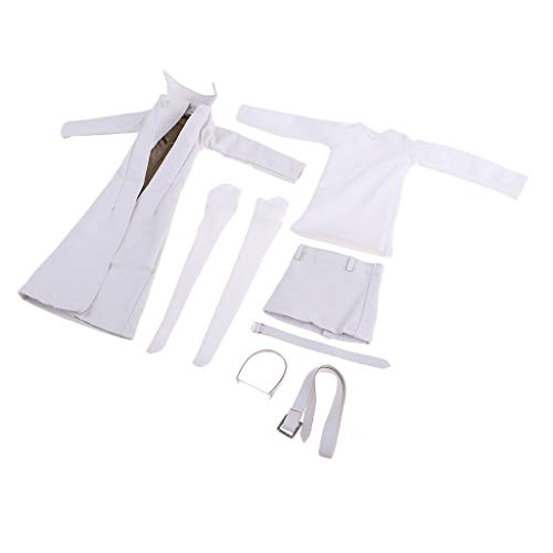 MagiDeal 1/6 Langärmlige Shirt + Rock + Strümpfe + PU-Leder Mantel + Gürtel Set für 12 Zoll Weibliche Action Figur, Puppenkleidung