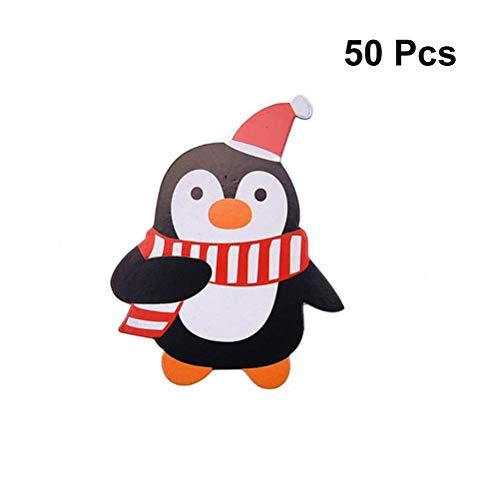 BESTOYARD 50 stücke DIY Weihnachten Handwerk Lutscher Papier Karte mit Pinguin Form Kinder Handgemachte DIY für Xmas Party Zubehör Gefälligkeiten Mädchen Jungen (Schwarz)