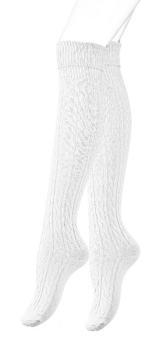 VCA Stiefel Kniestrümpfe mit Umschlag, Zopfmuster, Grobstrick, weiß