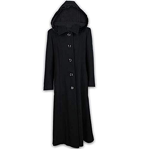bfe05d0bba63ee Damen Mantel Wollmix Kaschmir Damen Jacke Kapuze Kunstfell Lang Modisch  Warm Neu, EU 50 (UK 22), Schwarz