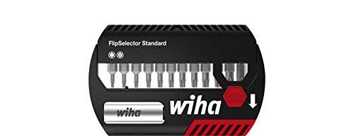 """Wiha Bit Set FlipSelector Standard 25 mm TORX Tamper Resistant (mit Bohrung) 13-tlg. 1/4"""" (39037), Bithalter, Set, Öffnen per Knopfdruck, schneller Bitwechsel, passt in die Hosentasche"""