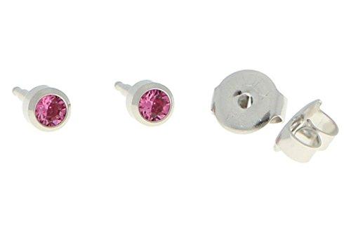 Orecchini per primo foro, acciaio chirurgico, sterili, con pietra di colore rosa