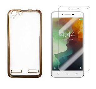 Tarkan Lenovo Vibe K5/ K5 PLUS Transparent Soft Silicon Flexible Electroplated Edges TPU Back Case Cover + Premium Tempered Glass screen Protector , Gold (Combo offer)  available at amazon for Rs.149