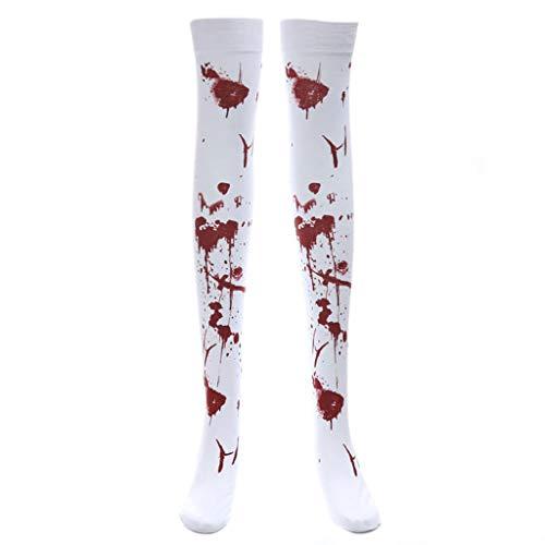 Qiman Halloween-Kniestrümpfe, hohe Socken, blutiger Druck, Polyesterkleid, Party-Kostüm, -