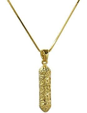 Gold Tone Mezuzah Anhänger auf Gold überzogen 40 cm Schlange Haut Halskette - Schmuck für Männer und Frauen