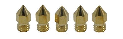 Tour 3D de Montagne–Lot de 5disques–MK8Set Nozzle–pour 1,75mm, laiton Hotend Buse pour d'Anet A6, A8, CTC, Set CR de 10(– 5x 0,4mm, 5)