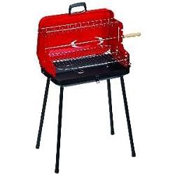 Alperk Camping - Barbacoa portátil, 52 x 42 x 78 cm, color rojo y negro