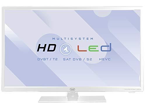 Trevi LTV 2402 SAT Televisore LED 24' con Decoder Digitale Terrestre DVBT-T2 e Satellitare DVBS-S2, Risoluzione max 1366 x 768 dpi HD Ready, Bianco