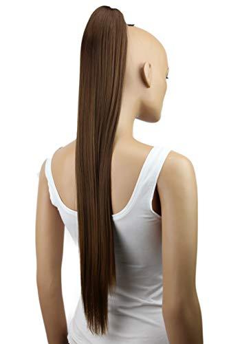 PRETTYSHOP Haarteil Zopf Pferdeschwanz glatt Haarverlängerung hitzebeständig wie Echthaar 70cm braun #4T6 H163