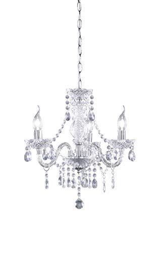 Reality Leuchten Luster - Lámpara colgante de 3 luces, necesarias 3 Bombillas E14 de máximo 40W excluidas, cuerpo acrílico transparente claro, 150 x 40 cm