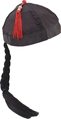 stüm Party Zubehör Chinesisch Mandarin Hut mit Zopf schwarz (Mandarin Kostüm)