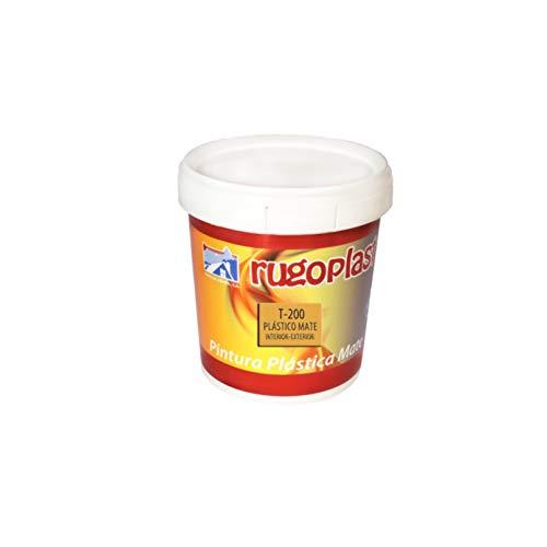 Rugoplast - Pintura plástica mate blanca económica T-200 para las paredes de tu casa tanto en interior y como exterior, Blanco, 750 ml