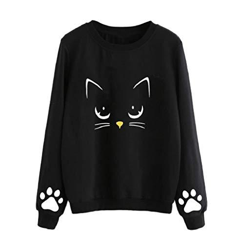 Tops T-Shirt Damen Sweatshirt Xjp Frauen Herbst Crew Neck Cat Gedruckt Langarmshirt Mode Große Größen Lose Langarm Shirt Bluse Tee (3XL, Schwarz) (Gedruckt Crew)