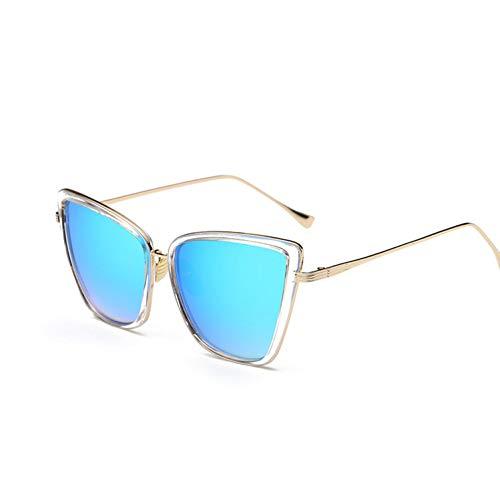 LLISA Frauen Sonnenbrille cat Spiegel gläser Metall cat Eye Sonnenbrille Frauen markendesigner Platz Sonnenbrille,A3
