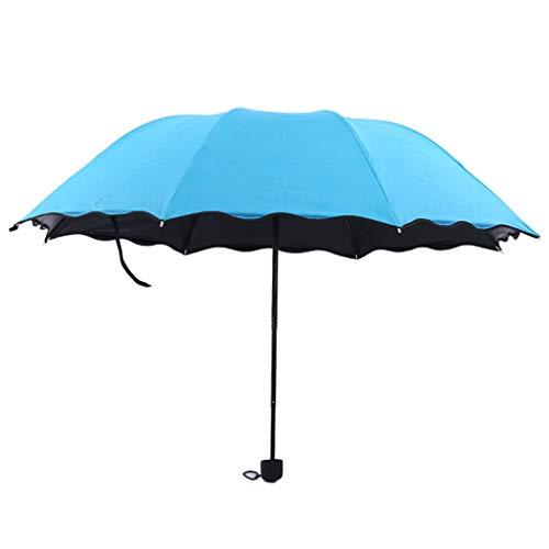 MXH Rüschen Bewässerung Sonniger Regenschirm Schwarzer Kunststoff super UV-Schutz Sonnenschirm Sonnenschirm Kreativer dreifachgefalteter Regenschirm,Blue