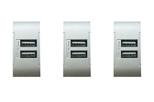 módulo USB Gris Compatible Living cargador 2enchufes USB doble toma tot821-Tipo 3unidades