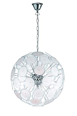 Trio-Leuchten 309000506 Pendelleuchte, 5 x E14 max. 40W, ø 46 cm, Chrom, Scheiben Kunststoff klar/satiniert von Trio Leuchten - Lampenhans.de