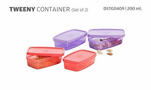Varmora Tweeny Plastic Container Set, 200ml, Set of 2, Violet