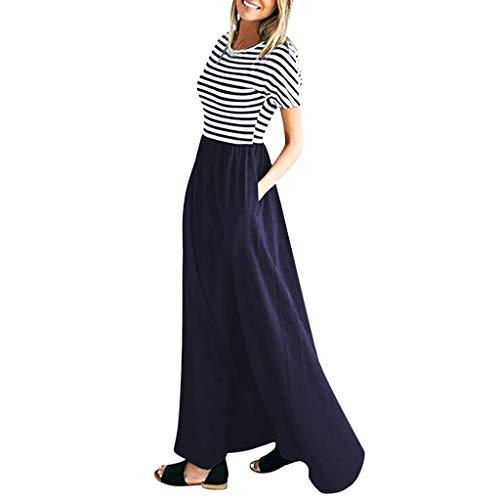 Kleider,Sasstaids Frauen Elegantes Kleid Casual Boho Maxi O-Neck elastische Taille Kurzarm Tunika-Kleid mit Taschen Langer Rock Swing-Kleid -