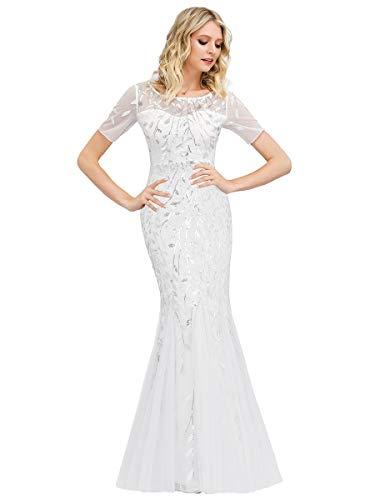 Ever-pretty vestito da festa donna sirena paillettes tulle abito da sera manica corta lungo bianco 36