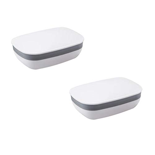 OUNONA 2 Stück Reise-Seifenschale Candy Color Seifenschale Box Halter Container für Wäsche Dusche Zuhause Badezimmer (weiß) -