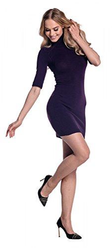 Glamour Empire. Damen Strickkleid Minikleid mit Stehkragen Rollkragen. 125 Lila