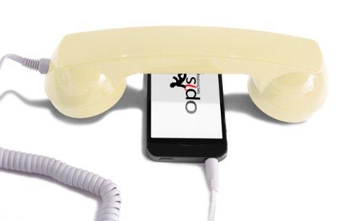 Opis 60s Micro - Retro Handyhörer für Smartphones und Handys in der Form eines klassischen Telefonhörers (beige)