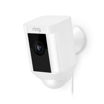 Ring 8SH1P7-BEU0 Caméra de Surveillance avec Projecteur Intégré/Système de Communication Bilatéral et Sirène d'Alarme, avec prise européenne, noir