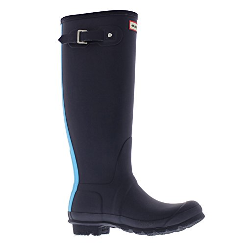 Hunter Womens Original Stripe Synthetic Rain Boots Midnight Sky Blue