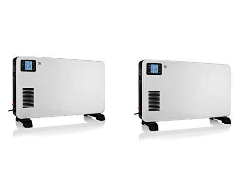Juego de 2 calefactores eléctricos Turbo Boost (convector), LCD con mando a distancia, termostato y temporizador