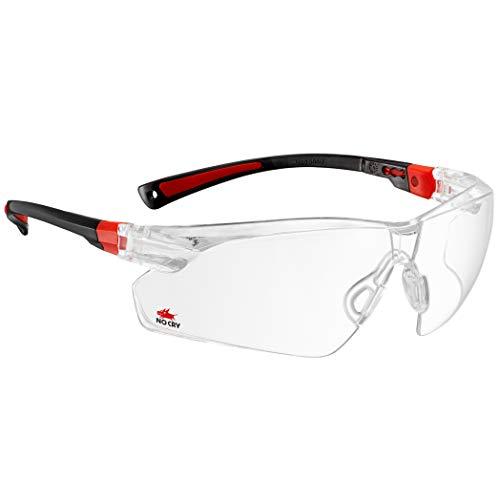 NoCry Schutzbrille mit durchsichtigen Anti-Beschlag und kratzbeständigen Gläsern, Seitenschutz und rutschfesten Bügeln, UV-Schutz, verstellbar (Schwarz & Rot)