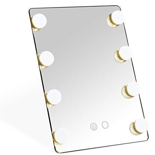 Beautify Espejo con 8 Bombillas LED - Sobremesa/Viajar/Tocador/Baño- Soporte Plegable - Operación de Pantalla táctil - 2 Opciones de iluminación