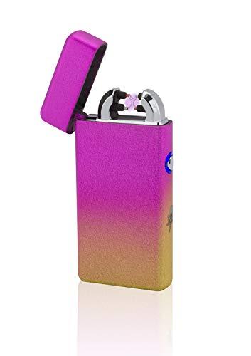 TESLA Lighter T08 Lichtbogen Feuerzeug, Plasma Double-Arc, elektronisch wiederaufladbar, aufladbar mit Strom per USB, ohne Gas und Benzin, mit Ladekabel, in Edler Geschenkverpackung, Mixed Orange
