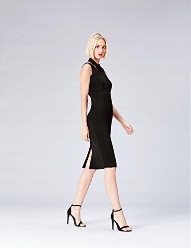 FIND Damen Scuba-Kleid mit überkreuzter Front Schwarz (Black)