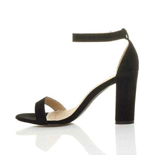 Femmes haute large talon chaussures bout ouvert sandales à lanières pointure Noir daim
