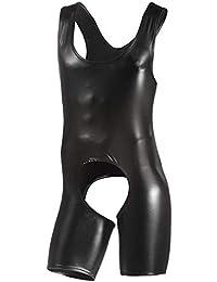725c1be8903 ranraner Men Patent Leather Romper Bodysuit Club Studio Stage Catsuit Vest  Boxer Costume (M)