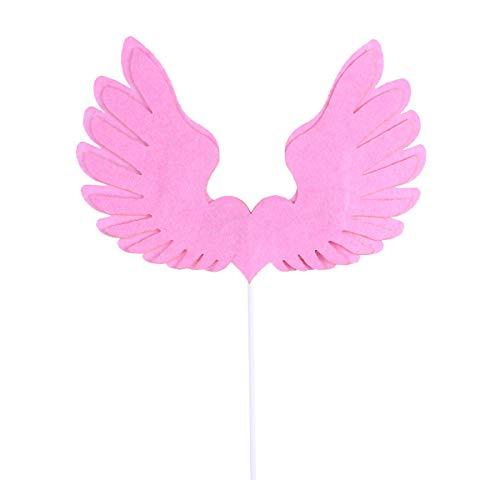 BESTONZON Engel Flügel Kuchen Cupcake Topper Picks mit LED Licht Feder Kuchendeckel für Baby Kinder Geburtstag Jubiläum Hochzeit Party Deko (Baby Engel Mit Flügeln)