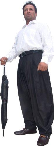 Il Padrino Moda Luxus Bundfalten Hose Gr. 54 black - Mafia Hose Boogie Swing Lindyhop