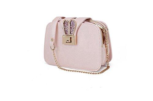 Versione la signora coreana della nuova borsa a tracolla, a catena, sacchetto del messaggero, un telefono cellulare piccolo sacchetto, un piccolo pacchetto quadrato light pink