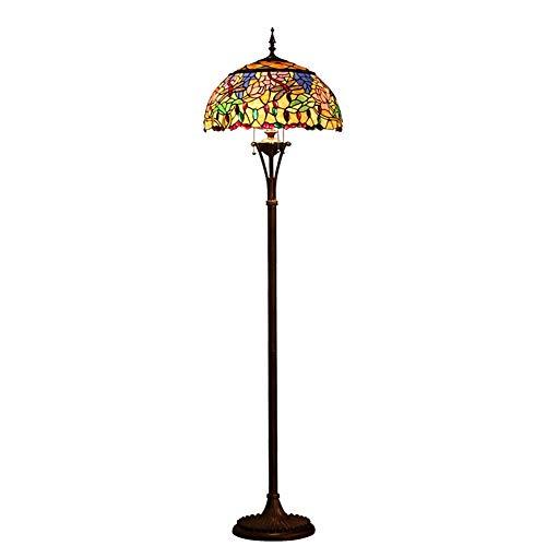 Tiffany Stehleuchte Stehlicht W17.7 H66.1 Zoll Glasmalerei Lampenschirm Für Schlafzimmer Wohnzimmer Blau Orange Libelle Tisch Schreibtisch Beleuchtung -411 ()